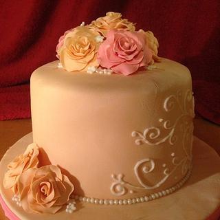 white chocolate rose cake