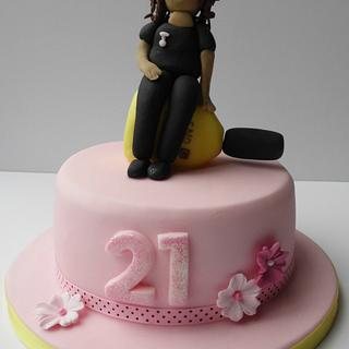Pink 21st nail queen cake