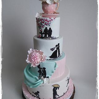 Storytelling wedding cake