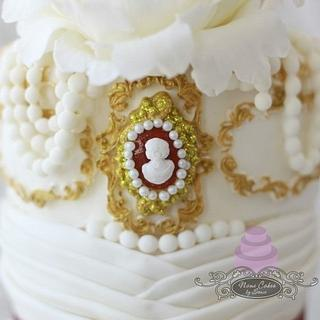 Elegant Cameo, White Peony and Pearls