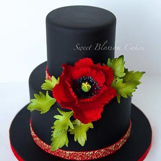 Black cake with sugar Poppy