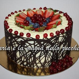 Fruit cake with chocolate collar