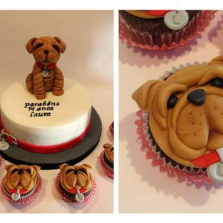 Shar Pei Dog Cake and Cupcakes