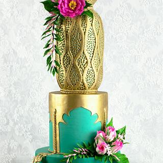 Gold Metallic Wedding Cake