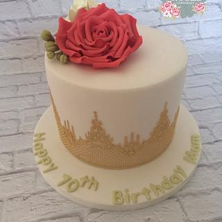 Gold Lace & Red Rose Cake