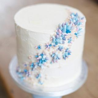 Coral inspired buttercream stacked cake