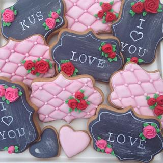 Valentine Chalkboard and Quilted Cookies - Cake by Janette Bakes