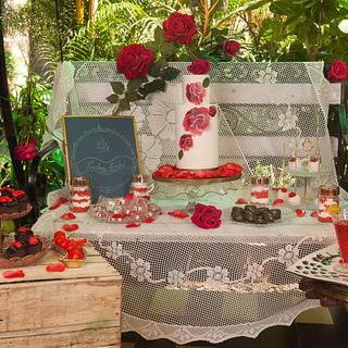 PDCA collaboration Rustic rose dessert table