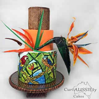 Stained glass Bird of Paradise cake