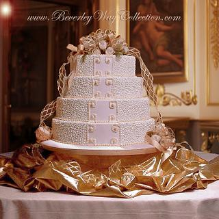'Belle of the Ball' in Luxurious Cornelli Lace and Pearls  - Cake by The Beverley Way Collection, Beverley Way Designs USA