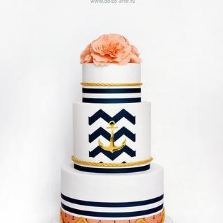 wedding cake in a nautical theme