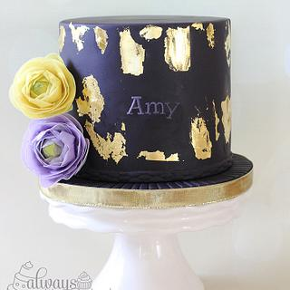 Gold Leafing and Ranunculus - Cake by AlwaysWithCake