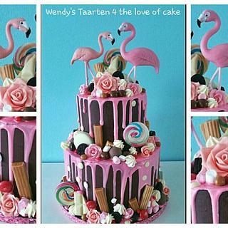 Flamingo drip cake - Cake by Wendy Schlagwein