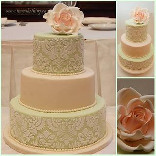 Damask Rose Bridal Shower Cake