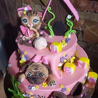 Cat &Pug cake