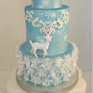 Reindeer and Snowflakes cake.