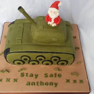 Father Christmas in his tank