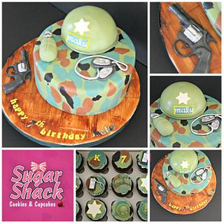 Army themed cake and cupcakes