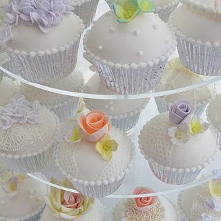 Pastels, flowers and lace Cupcake Tower