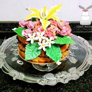 Rustic Naked Cake with Sugar Flowers - Cake by Cláud' Art Sugar