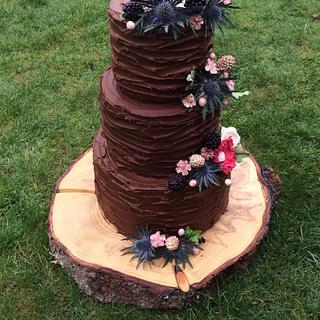 Rustic berries wedding cake