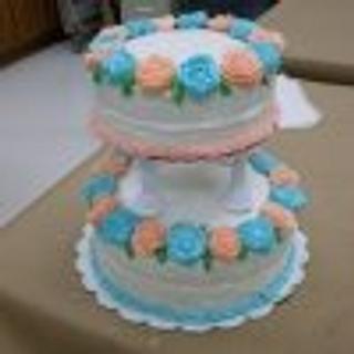 Wilton Course 4 Final Cake-Buttercreme Icing Wedding Cake