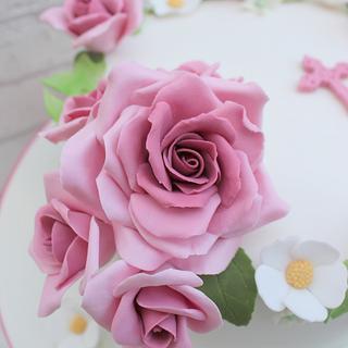 vintage roses confirmation cake  - Cake by Lynette Brandl