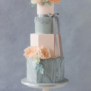 Hexagonal marbled wedding cake