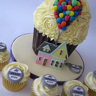 Disney Up themed Wedding Giant Cupcake & Cupcakes