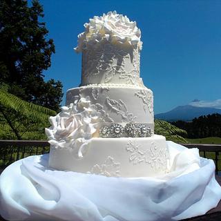 ~Vintage Brush Embrodiery Wedding Cake~