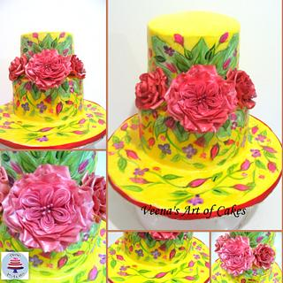 Mothers Day Hand Painted Cake for Super Mom Cake Collaboration
