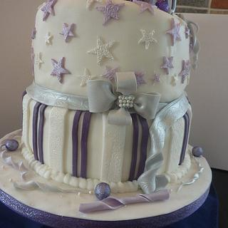 Silver and purple 18th Birthday cake