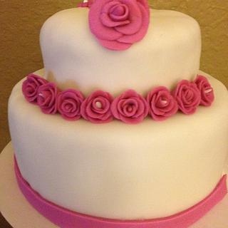 2 Tier Pink Roses Wedding Cake