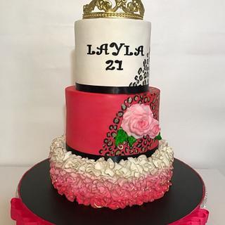 21st birthday cake with cheetah print