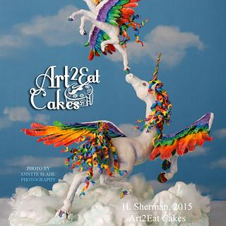 Rainbow Pegacorn Launch!  - Cake by Heather -Art2Eat Cakes- Sherman