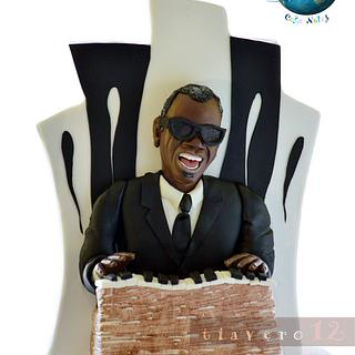 Music around the World-Cakes notes Collaborattion, RAY CHARLES - Cake by Verónica García