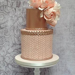 Blush and rose gold birthday cake