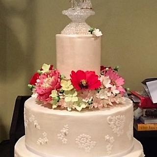 lace and flowers 70th wedding anniversary cake