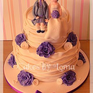 Two tier Ruffle Wedding Cake