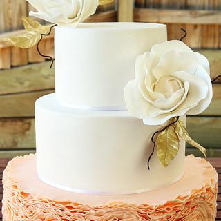 Peach-colored Ruffled Wedding Cake