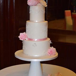 Delicate Pink & White Wedding Cake