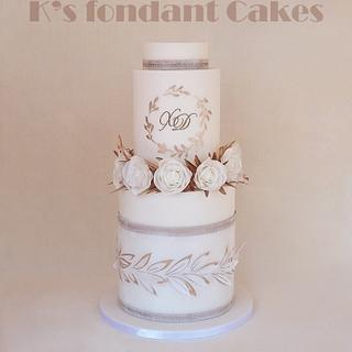 Olive branches & Roses Wedding Cake
