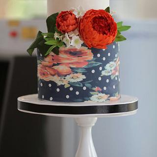 Semi open peony wedding cake