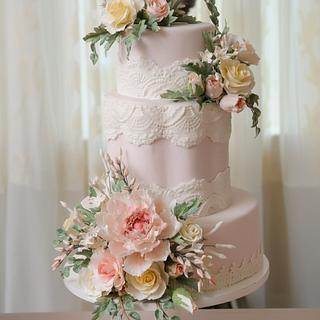 Blush Sugar Flower Wedding Cake and Dessert Tablescape
