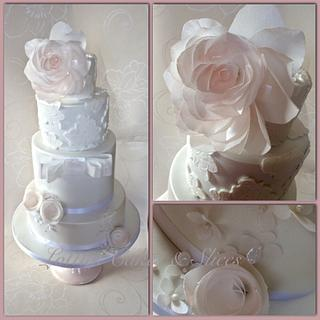Lace Satin Wedding Cake  with Wafer paper flowers.