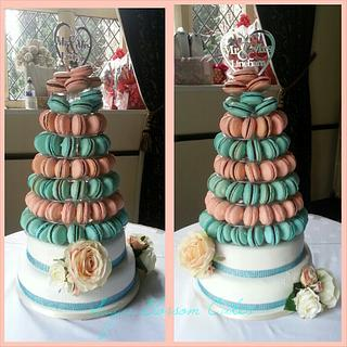 Peach and Turquoise Macaron tower wedding cake