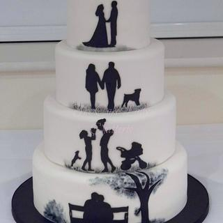 Silhouette Anniversary - Cake by The Cake Lady (Tracy)