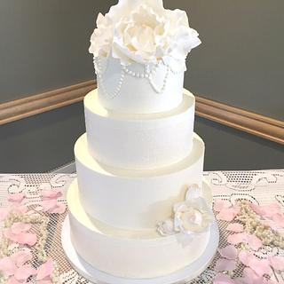 Modern Meets Vintage Buttercream Wedding Cake - Cake by Enticing Icing