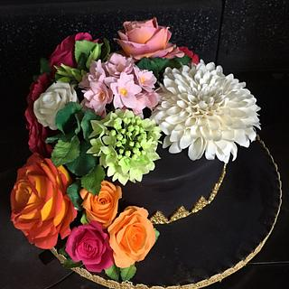 Sugar Floral Cake based on theme of 1800