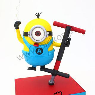 Minion on a pogo stick Cake!